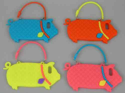Silicone Pig Handbag Case for Apple iPhone 5 & iPhone 5S